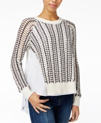Rachel Roy Mixed Media Sweater Only At Macy's Ecru Storm