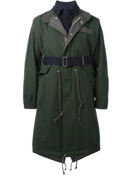 Sacai Belted Trench Coat Green