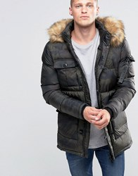 Sik Silk Siksilk Padded Parka Jacket With Faux Fur Hood Camo Green
