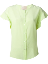 Erika Cavallini Semi Couture Ruffled Sleeves Blouse Green