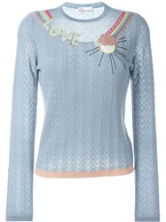 Red Valentino Cable Knit Sheer Inset Jumper Grey