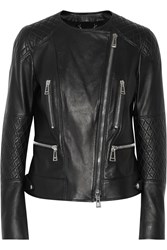 Belstaff Chesire Quilted Paneled Leather Biker Jacket Black