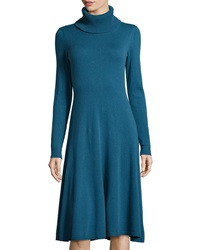 Lafayette 148 New York Cashmere Long Sleeve Turtleneck A Line Dress Peacock