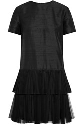 House Of Holland Phyllie Tulle Trimmed Silk Shantung Mini Dress