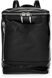 Giuseppe Zanotti Glossed Textured Leather Backpack Black