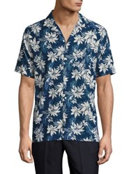 Officine Generale Dario Floral Print Casual Button Down Shirt Blue