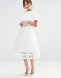 Chi Chi London Premium Lace Skirt With Cutwork Detail White