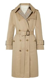 Mackintosh Paneled Cotton Gabardine And Checked Twill Trench Coat Beige