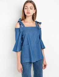 Pixie Market Chambray Shoulder Tie Top By New Revival