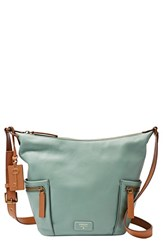 Fossil 'Small Emerson' Pebbled Leather Hobo Blue Sea Glass