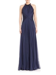 Carmen Marc Valvo Beaded Neck Silk Chiffon Gown Midnight
