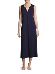 Saks Fifth Avenue Solid Knit Sleeveless Gown Navy Heather Grey