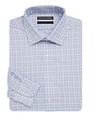 Saks Fifth Avenue Black Checkered Cotton Dress Shirt White Blue