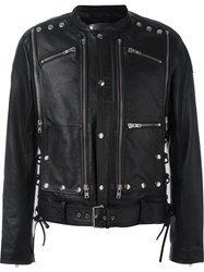 Faith Connexion Studded Multiple Zipper Pocket Jacket Black