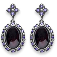 Platadepalo Classic Silver Garnet And Zircon Earrings Pink Purple