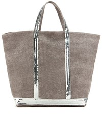 Vanessa Bruno Cabas Moyen Embellished Canvas Shopper Grey