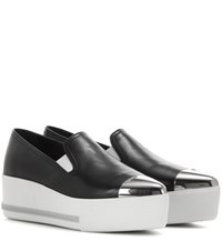 Miu Miu Leather Slip On Platform Sneakers Black