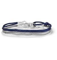 Rubinacci Set Of Three Silk Ribbon Bracelets Navy