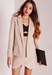 Missguided Faux Suede Blazer Taupe Grey