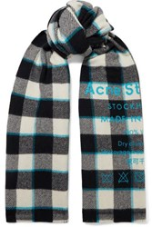 Acne Studios Cassiar Printed Checked Wool Scarf White