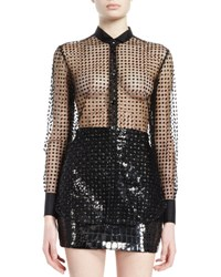 Saint Laurent Long Sleeve Sequined Dot Sheer Blouse Black