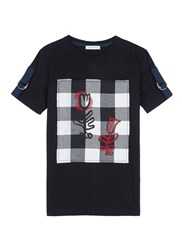 J.W.Anderson Graphic Print Gingham Check Patch Unisex T Shirt Black