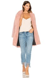 Maison Scotch Teddy Bear Cocoon Faux Fur Coat Pink