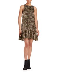 Erin Fetherston Velvet Floral Print Sleeveless Ruffled Shift Dress Mocha Multi