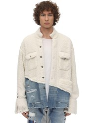 Greg Lauren Faux Shearling And Denim Studio Jacket White