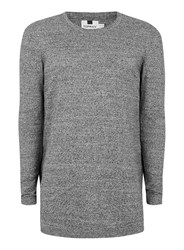 Topman Dark Grey And White Twist Longline Sweater