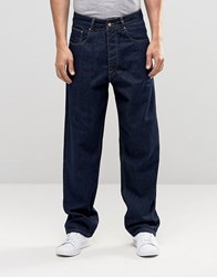 Asos Highwaisted Jeans In Raw Indigo Indigo Blue