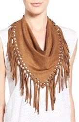 Women's Steve Madden Faux Suede Fringe Triangle Scarf Brown
