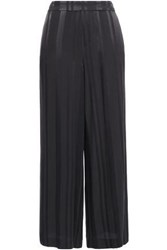 Charli Woman Striped Satin Jacquard Wide Leg Pants Charcoal