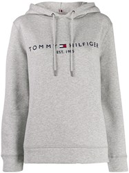 Tommy Hilfiger Embroidered Logo Hoodie Grey