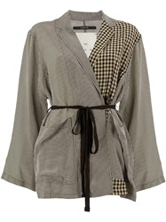 Song For The Mute Check Wrap Jacket Grey