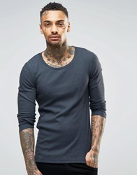Asos Rib Extreme Muscle Long Sleeve T Shirt With Scoop Neck In Navy Navy