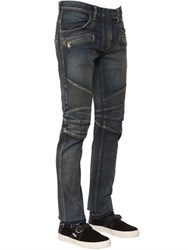 Balmain 17Cm Washed Stretch Cotton Denim Biker