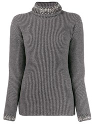 Ermanno Scervino Rhinestone Embellished Turtleneck Jumper Grey