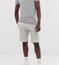French Connection Tall Slim Fit Peached Cotton Chino Shorts Stone