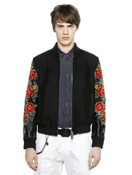 Dsquared Embroidered Leather And Felt Bomber Jacket Black