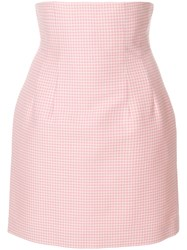Sara Battaglia High Waisted Gingham Skirt Pink And Purple