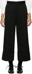 Y's Black Wide Leg Chino Trousers