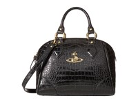 Vivienne Westwood Jungle Crocodile Top Handle Satchel Black Satchel Handbags