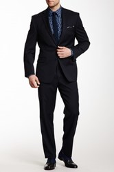 Calvin Klein Navy Solid Two Button Notch Lapel Suit Blue