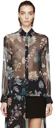 Versus Black Silk Anthony Vaccarello Edition Floral Shirt
