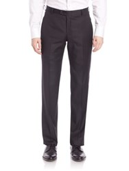 Hickey Freeman B Series Flat Front Wool Pants Black