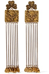Chloe Maddie Hammered Gold Tone Earrings One Size