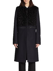 A.L.C. Rocio Lamb Shearling Paneled Convertible Coat Black