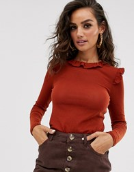 Y.A.S Frill Detail Long Sleeve Top Orange