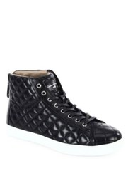 Gianvito Rossi Quilted High Top Leather Sneakers Black